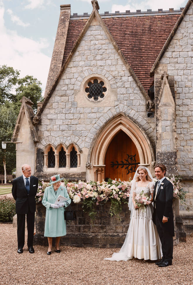 The couple were married in a small family ceremony on Friday at the Royal Chapel of All Saints at Royal Lodge, Windsor