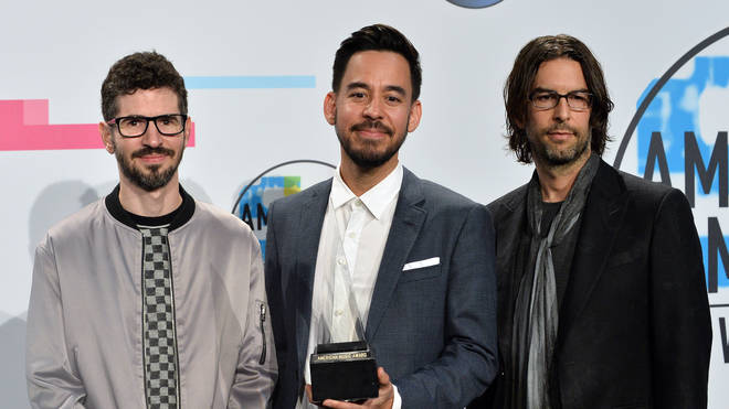 Brad Delson, Mike Shinoda and Rob Bourdon (L-R) of Linkin Park at the American Music Awards