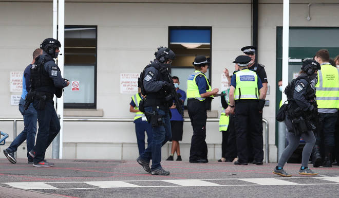 Counter Terrorist Specialist Firearms Officers at the Royal Sussex County Hospital in Brighton