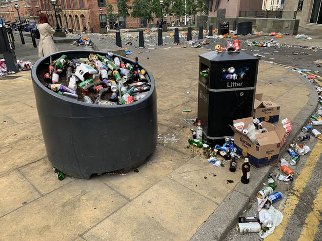 Millennium Square in Leeds city centre was left strewn with rubbish following Sunday's festivities