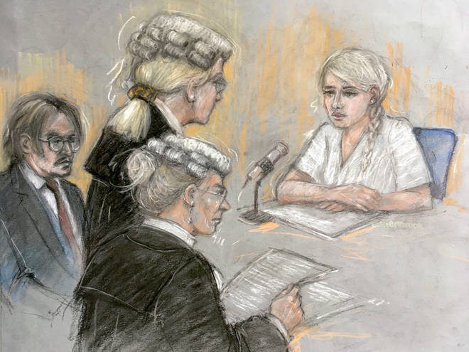 Ms Heard in a court sketch giving evidence