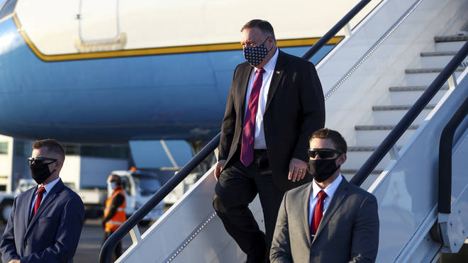 Mike Pompeo lands in London