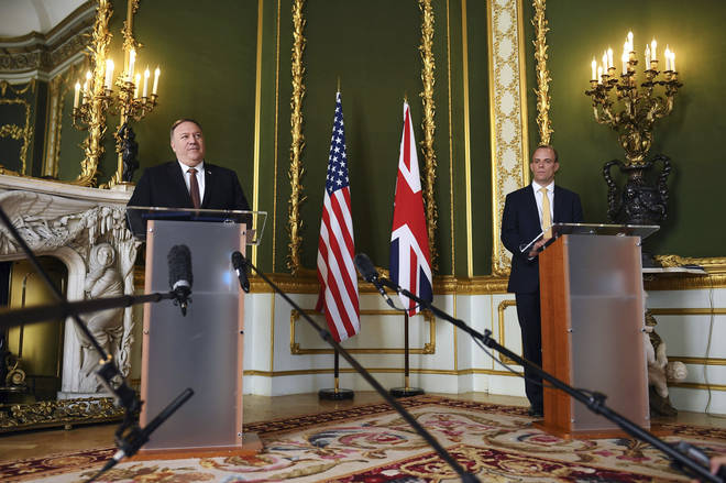 Mike Pompeo (L) and Dominic Raab (R) held a joint press conference on Tuesday