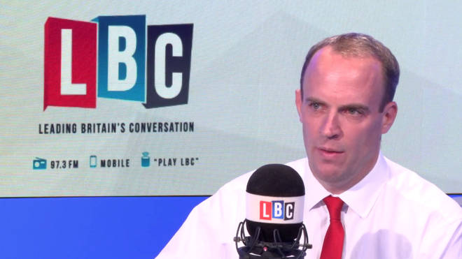 Dominic Raab answered listener's questions during an exclusive LBC phone-in
