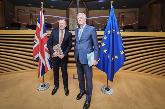 UK chief Brexit negotiator David Frost (left) and European Union chief Brexit negotiator Michel Barnier