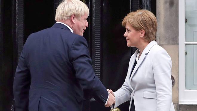Scotland's First Minister Nicola Sturgeon welcoming Prime Minister Boris Johnson in Edinburgh last year