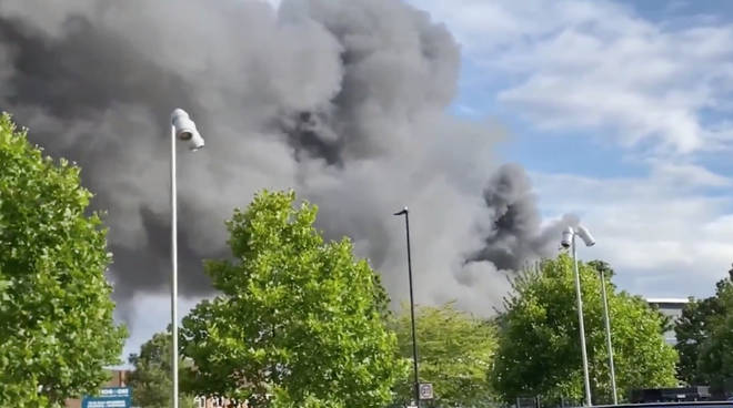 "A ""massive fire"" has broken out in a shop with flats above in Park Royal, west London"