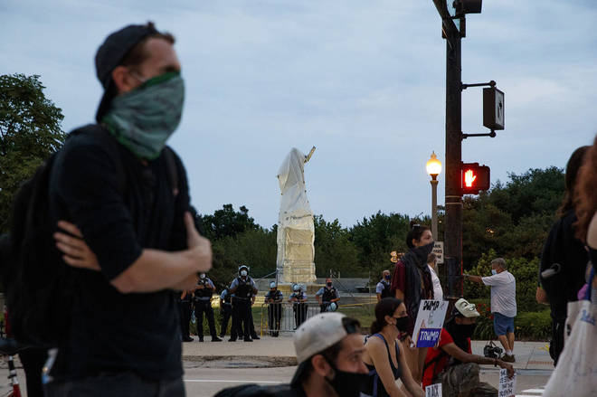 The Chicago mayor had Christopher Columbus statues removed from Chicago parks overnight