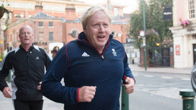 Boris Johnson pictured running during the 2016 Conservative Party conference