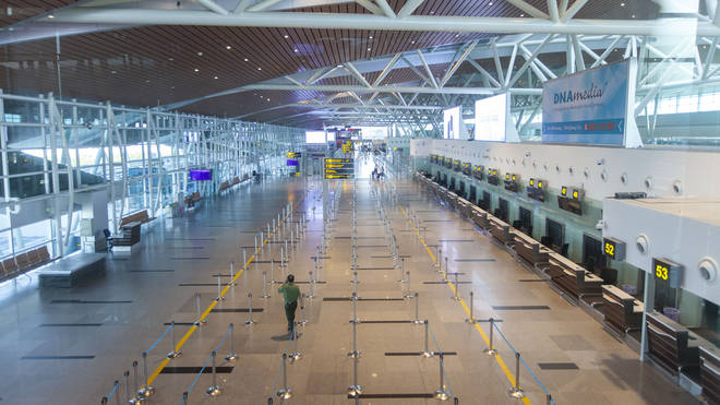 Da Nang International Airport - usually heaving with tourists - abandoned during the coronavirus crisis