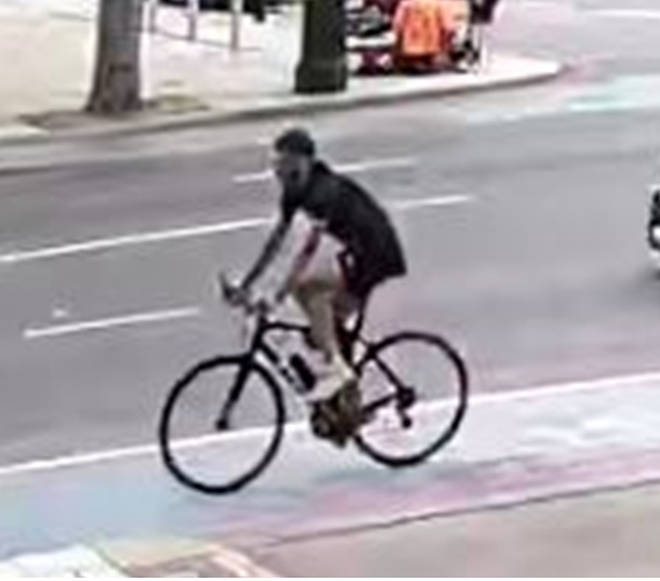 The cyclist is thought to have abandoned his bike and ran off