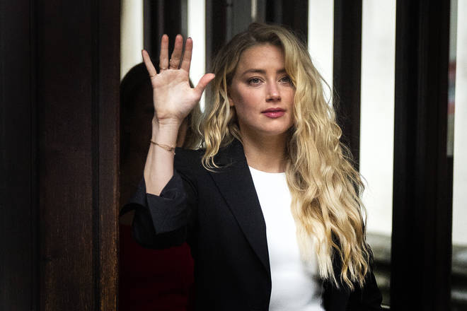 Actress Amber Heard arrives at the High Court in London on Monday