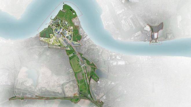 Detailed aerial masterplan of The London Resort
