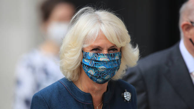 The Duchess of Cornwall pictured wearing a face mask to visit the National Gallery on Tuesday