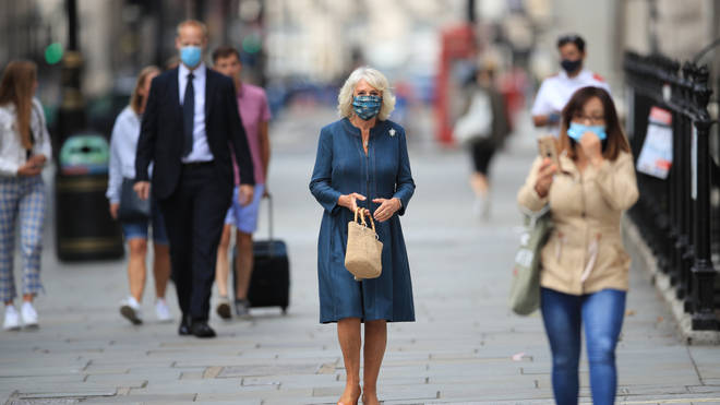 The Duchess walked from her home of Clarence House to the nearby gallery