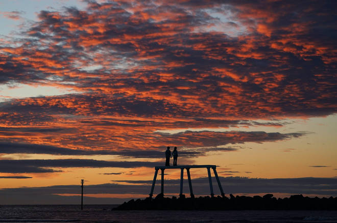 Sunrise was spectacular at Newbiggen-by-the-Sea in Northumberland on Tuesday