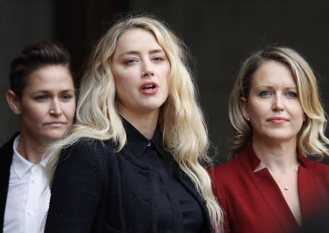 Amber Heard speaks outside court on Tuesday
