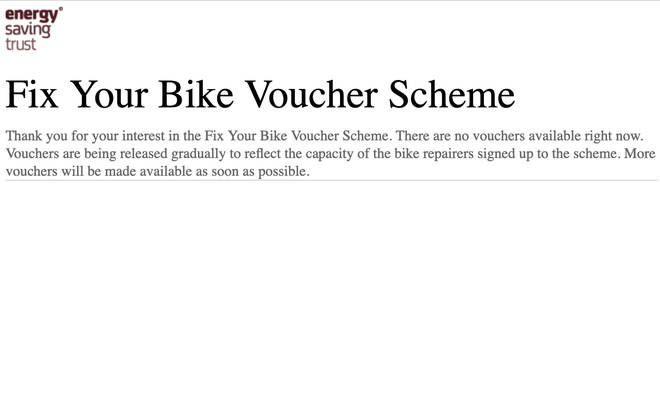 Those visiting the website for a voucher are met with a 'coming soon' message