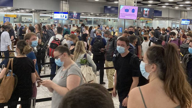Passengers have complained of 'chaotic' queues at Heathrow