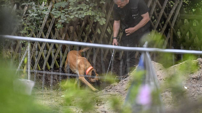 Dogs are seen working at the sight where German authorities have been found