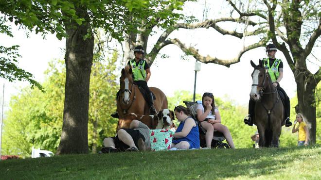 Police patrol Heaton Park in Manchester