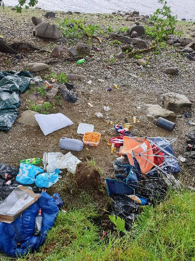 Litter has been left as a result of wild camping