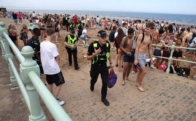 Police officers are patrolling several beaches
