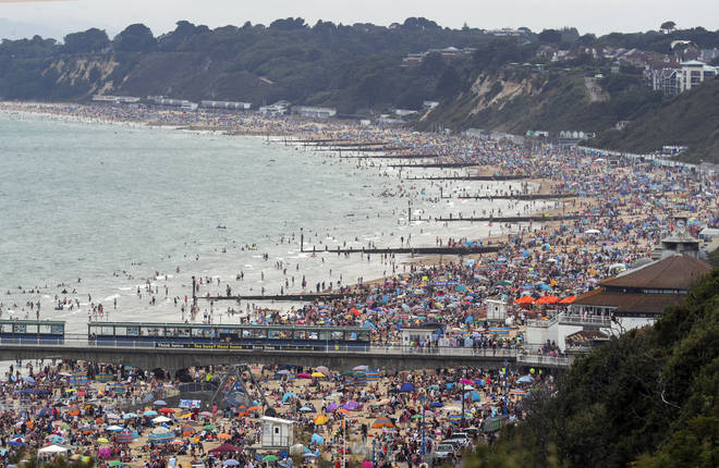 Hundreds of people flocked to Bournemouth beach