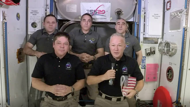 Robert Behnken and Douglas Hurley (front) have spent the past two months on the International Space Station