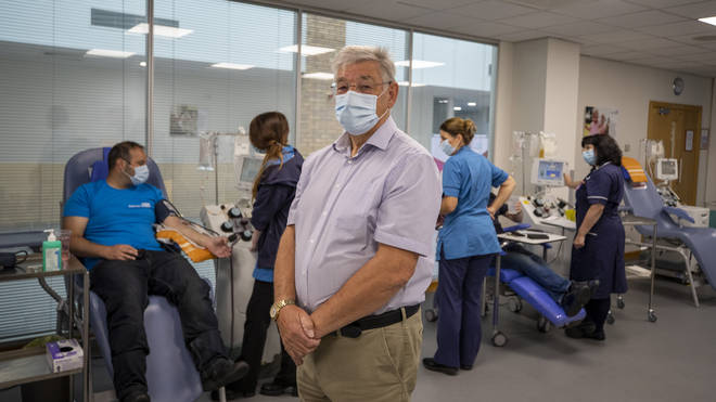 Malcolm Shaw, 72, England's oldest plasma donor, at a pop up plasma donor centre