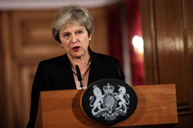 Theresa May gave her statement from inside Downing Street on Friday