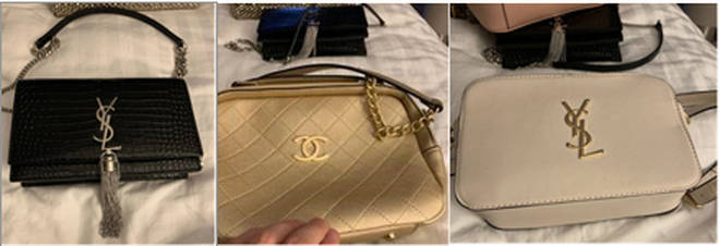 A photo of stolen handbags found on a phone belonging to Thomas Mee