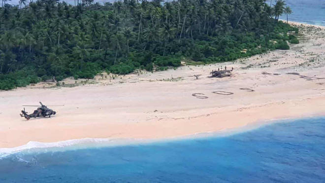 Three sailors have been rescued after their SOS sign was seen from the air