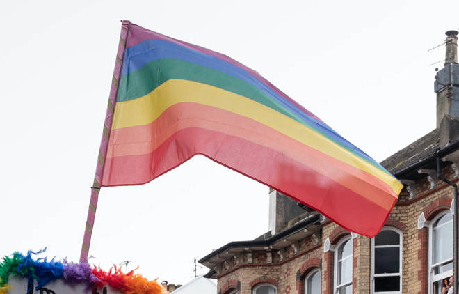 A rainbow flag during Brighton Pride in 2019