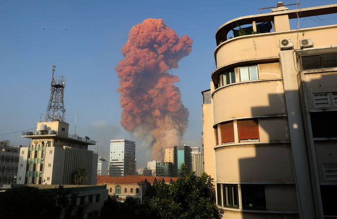 A huge blast was seen in the Lebanese capital of Beirut