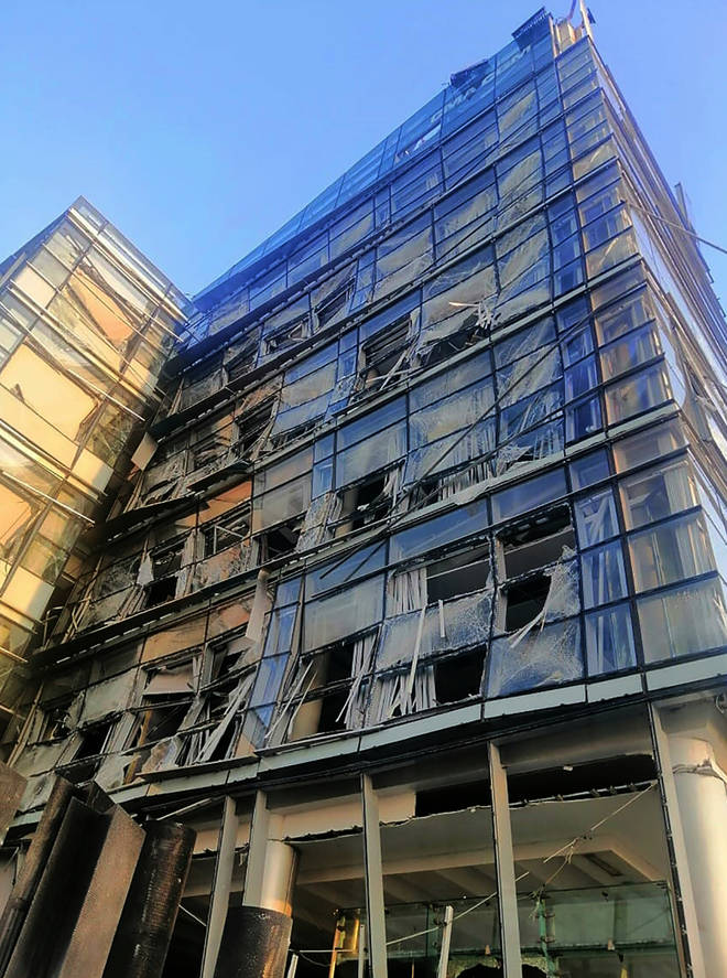 Windows were blown out across the city