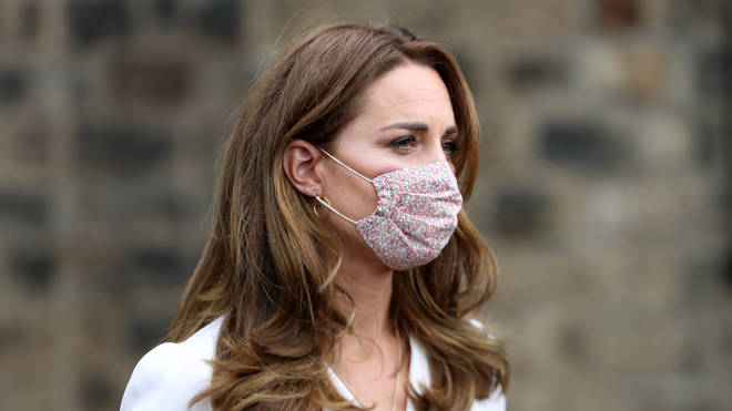 The Duchess of Cambridge, wearing a face mask, during a visit to Baby Basic UK & Baby Basics Sheffield