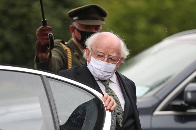 President of Ireland Michael D. Higgins arrives at the funeral