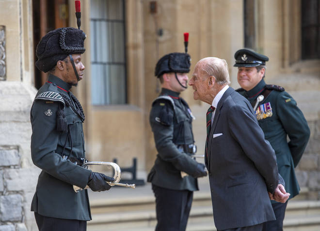Prince Philip, Duke of Edinburgh attends a ceremony to mark the transfer of the Colonel-in-Chief of The Rifles at Windsor Castle