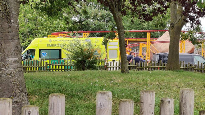 The man was airlifted to hospital by the Yorkshire Air Ambulance