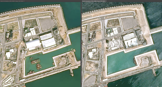 The impact on the port can be seen in the images