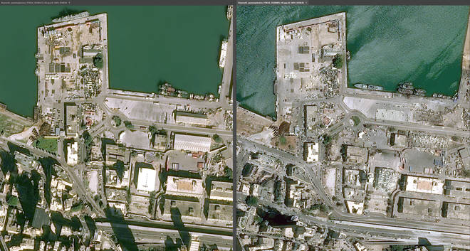 Much of the port was flattened by the explosion