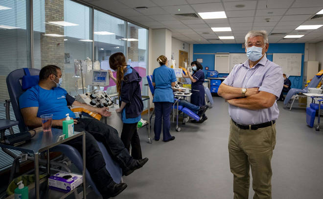 Malcolm Shaw, 72, England's oldest plasma donor, at a donor centre in Liverpool