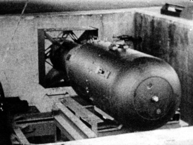 A picture of 'Little Boy' the atomic bomb that was dropped on Hiroshima August 6, 1945,