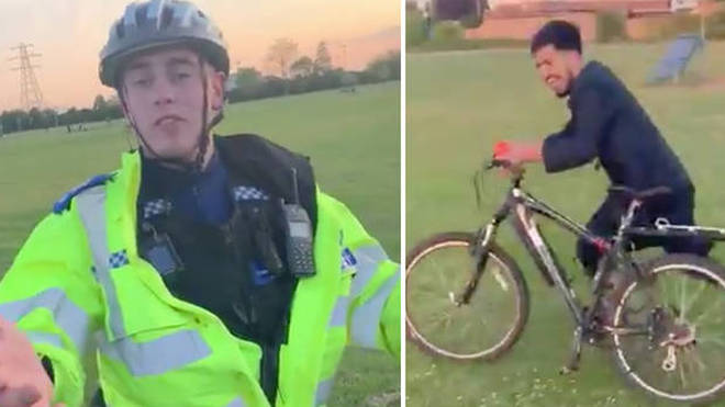 Footage of Ali taking the bike belonging to PCSO William Jones went viral
