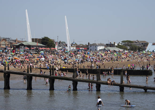 Southend beach on the hottest day of the year and third hottest on record, 31 July