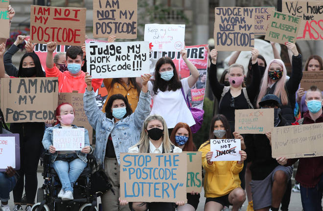 Students protested outside examiners' offices in Glasgow on Friday amid a grades fiasco