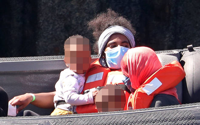 Women and children were pictured on board Border Force vessels