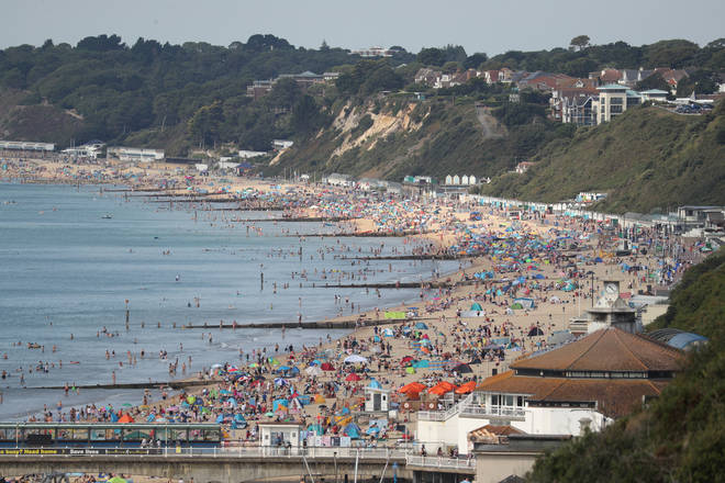 Bournemouth beach was already busy by mid-morning on Saturday