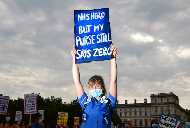 NHS workers gathered in St James's Park, London, on Saturday
